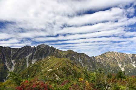 遠見尾根からの五竜岳と雲