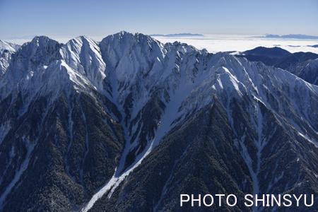 西側からの穂高山群