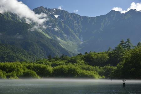 朝もや漂う大正池