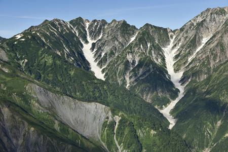 氷河の可能性が高い唐松沢雪渓(左)と唐松岳
