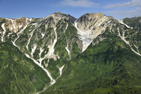 白馬鑓ヶ岳・杓子岳(左中腹に鑓温泉)