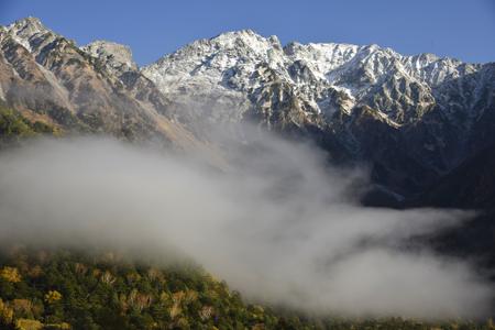 山腹に雲を従えた穂高連峰